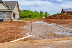 Free New House Driveway Construction Royalty Free Stock Photos - 118892438