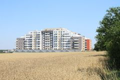 New house with flats. New built house with flats `Barrandov Terraces` in Prague, Czech Republic royalty free stock photos