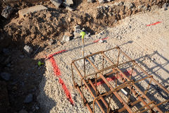 New house footings and groundwork for building construction. Groundwork and steel re-inforcement for concrete base  on building construction site where new homes Royalty Free Stock Image
