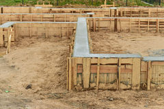 New house foundation construction Royalty Free Stock Photos
