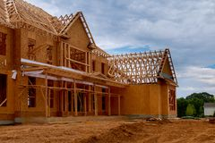 New house framework of house under beam construction. New house framework of house under construction post and beam construction Stock Image