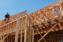New house framework of house under beam construction. New house framework of house under construction post and beam construction Royalty Free Stock Image