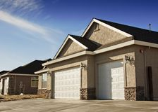 New House Garage. Garage and Driveway of Newly Built Energy Efficient House Royalty Free Stock Photography