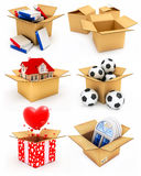 New house, heart, window, books and balls in box. New private house, red hearts, plastic windows, books and soccer balls in cardboard boxes 3d illustrations Royalty Free Stock Image