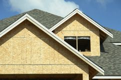 New House Home Construction. Roofing details of a new home under construction Royalty Free Stock Photos
