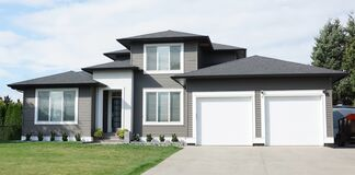Free New House Modern Home Gray White Exterior Street Elevation Royalty Free Stock Images - 196912259