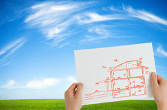 New house outline. Over idyllic background stock images