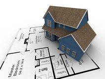 New house plans. 3D Image of a new home Royalty Free Stock Photography