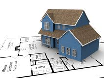 New house plans. 3D Image of a new home Stock Images
