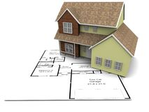 New house plans. 3D Image of a new home Stock Image