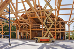 New house post and beam construction. With the interior exposed Royalty Free Stock Images