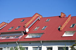 New house roof with windows Stock Photo