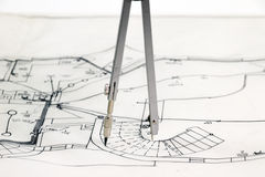 New house sketch. Drawing with compasses Royalty Free Stock Image