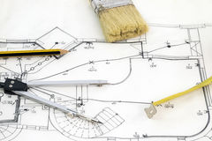 New house sketch. Drawing with pencil compasses and tape measure Royalty Free Stock Photo