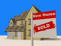 New house sold estate agent sign. Image of a house with a For Sale sign outside with a Sold sticker printed on the sign stock illustration