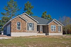 New house stone and shake exterior Stock Photos