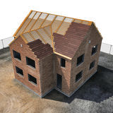 New house under construction on white. Angle from up. 3D illustration Royalty Free Stock Images