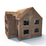 New house under construction on white. 3D illustration Royalty Free Stock Photo