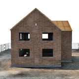 New house under construction on white. Side view. 3D illustration Royalty Free Stock Photography
