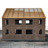 New house under construction on white. Side view. 3D illustration Royalty Free Stock Images