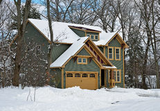 New house in winter. New house in the country in winter stock images