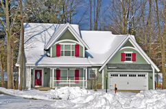 New house in winter woods Royalty Free Stock Photography