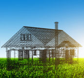New house wireframe project on green field. Real estate. New house wireframe project on green field. Blue sky copyspace. Architecture, real estate Royalty Free Stock Photos