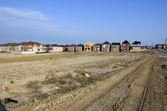 New houses. And house's construction sites Royalty Free Stock Photo