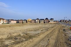 New houses. And house's construction sites Royalty Free Stock Photography