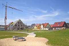 New houses. An area of new houses and construction yards royalty free stock photography