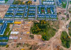 New houses being built. In Lithuania, Pilaite stock images