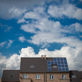 New houses with solar panels on roof Stock Photos