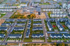 Fresh built district, aerial view Royalty Free Stock Photos