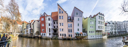 New houses were build along the Gera river in 1995 in Erfurt. ERFURT, GERMANY - DEC 20, 2015: new houses were build along the Gera river in 1995 in Erfurt royalty free stock photo