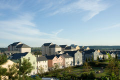 New Housing Development. Pastel coloured houses in a new estate in Portishead royalty free stock photo