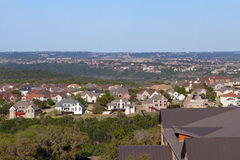 New housing development. Newly build housing development, encroachment into a dry, fire prone nature area.  Suburb of Austin, Texas Stock Photo