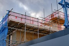 New housing development showing scaffholding and safety neeting. Royalty Free Stock Photo