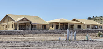 New housing project in progress trades construction industry Stock Photo