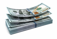 New Hundred dollar banknotes Royalty Free Stock Photos