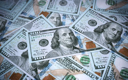 New Hundred dollar banknotes Stock Photos