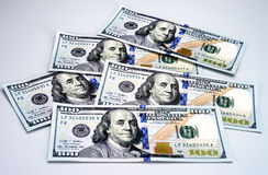 New 2013 hundred dollar bills. With security code and hologram Stock Photography