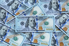 New Hundred dollar bills. New US hundred dollar bills for background use Stock Image