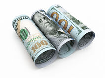 New Hundred dollar roll banknotes Stock Photography