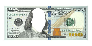 New hundred dollars bill, no face, clipping path. One new hundred dollars bill with no face isolated on white, clipping path included Stock Photo