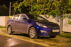 New Hyundai Elantra Avante parked on the street at night. Stock Images