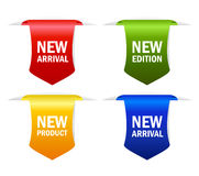 New icon. New arrival ribbons on white background Stock Images