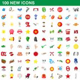 100 new icons set, cartoon style. 100 new icons set in cartoon style for any design illustration royalty free illustration