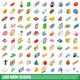 100 new icons set, isometric 3d style. 100 new icons set in isometric 3d style for any design vector illustration Stock Photo
