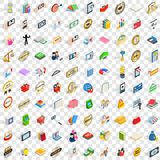 100 new icons set, isometric 3d style. 100 new icons set in isometric 3d style for any design vector illustration Royalty Free Stock Photography