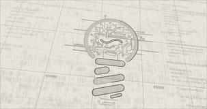 New idea concept with bulb symbol futuristic sketch